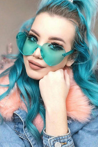 Rimless Vintage Heart Sunglasses