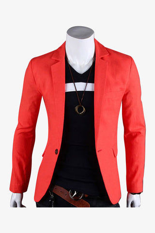 Single Button Suit Jacket In Orange