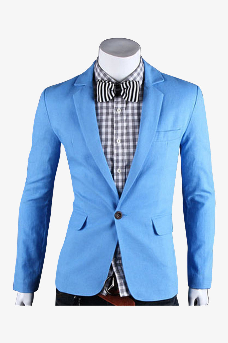 Single Button Suit Jacket In Blue
