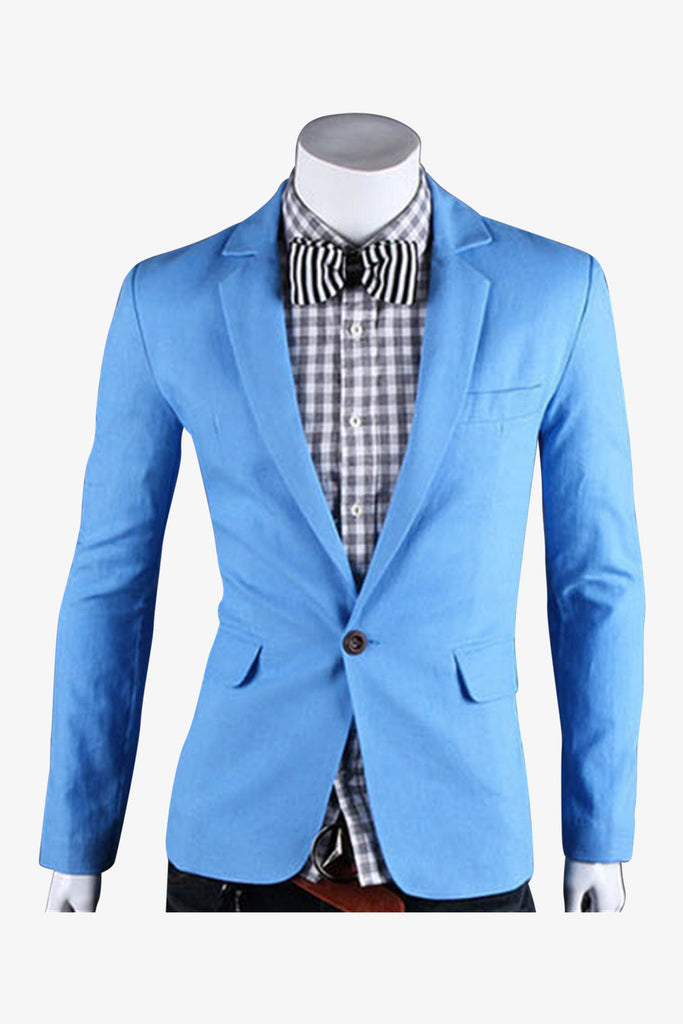 Single Button Suit Jacket In Powder Blue