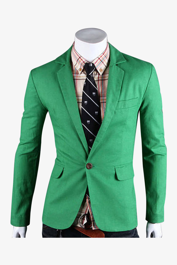 Single Button Suit Jacket In Green