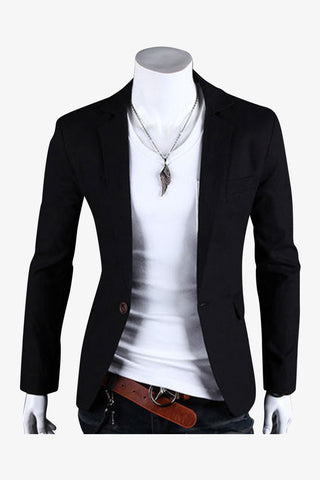 Single Button Suit Jacket In Black