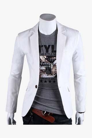 Single Button Suit Jacket In White