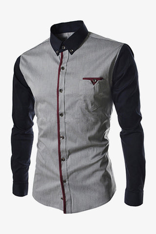 Bicoloured Shirt In Gray