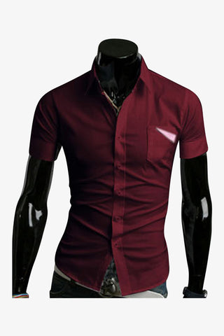 Slim Fit Shirt In Burgundy