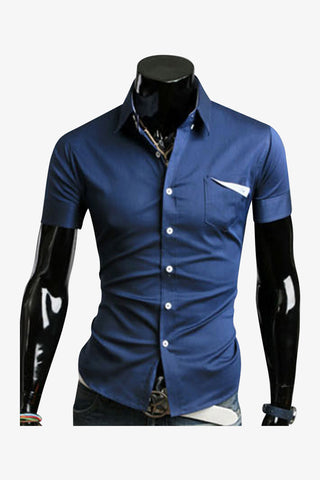 Slim Fit Short Sleeve Shirt In Navy