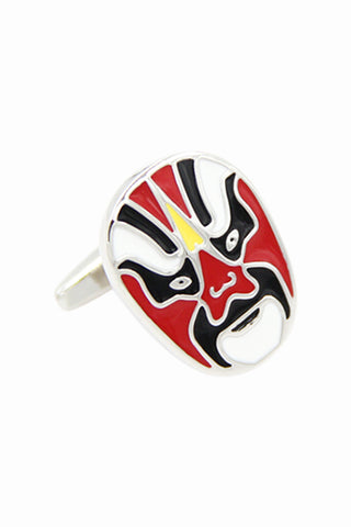 Chinese Opera Enamel Red Cufflinks