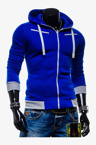 Slim Fit Hoodie Jacket In Royal Blue