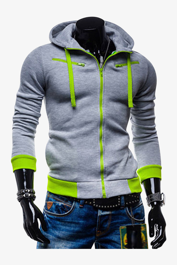 Slim Fit Hoodie Jacket In Gray