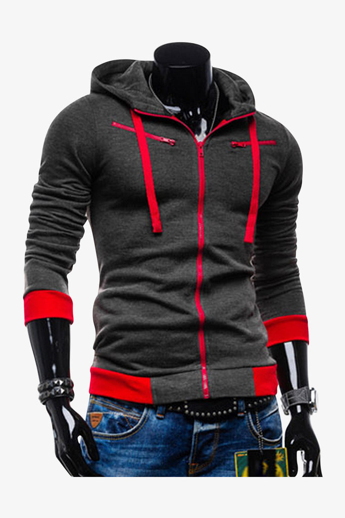 Slim Fit Hoodie Jacket In Dark Gray