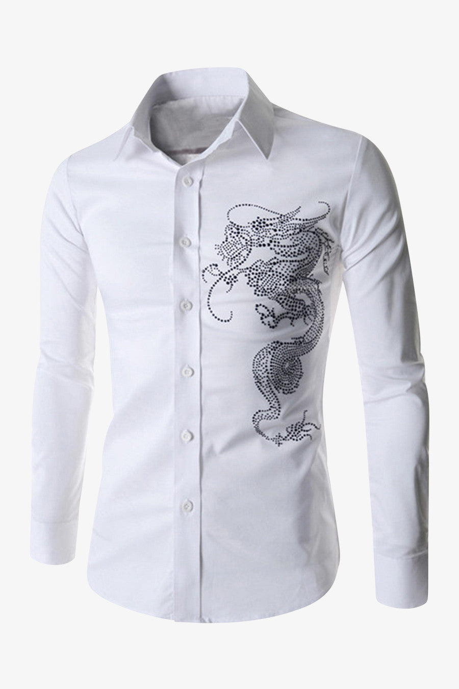 Embroidered Dragon White Shirt