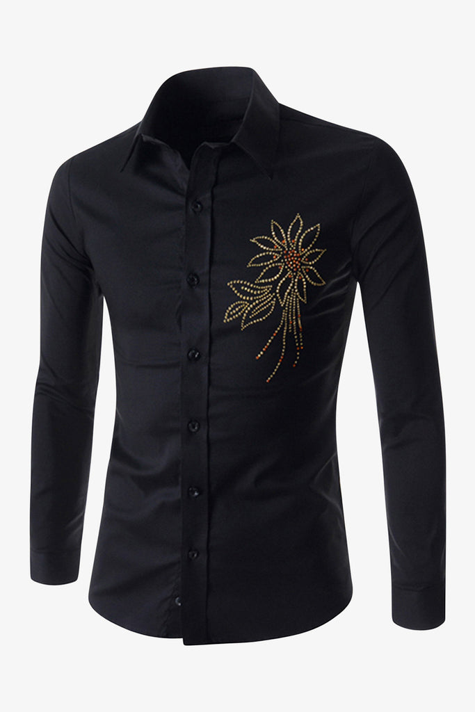 Embroidered Flower Pattern Long Sleeve Shirt In Black