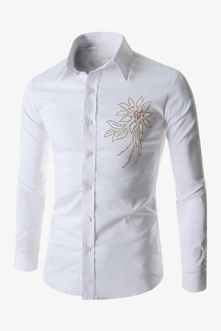 Embroidered Flower Pattern White Shirt