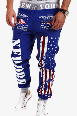 American Flag Printed Sweatpants In Blue