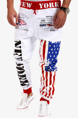 American Flag Printed Sweatpants In White