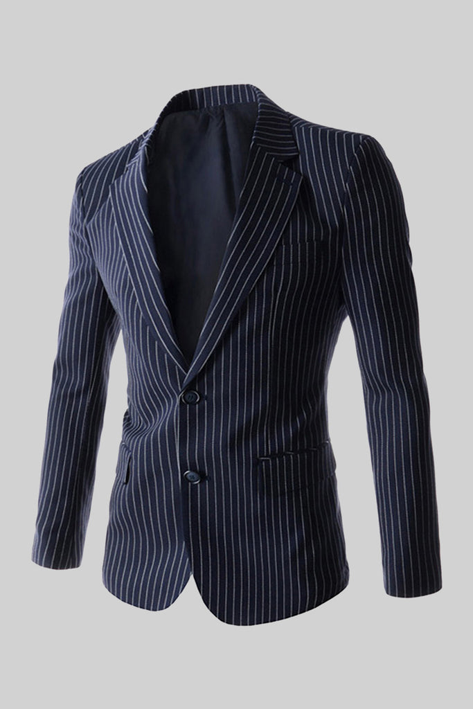 Striped 2-Button Suit Jacket In Navy