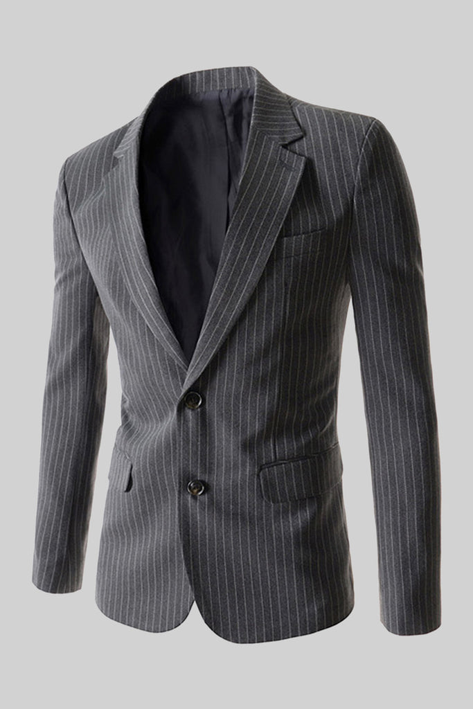 Striped 2-Button Suit Jacket In Gray