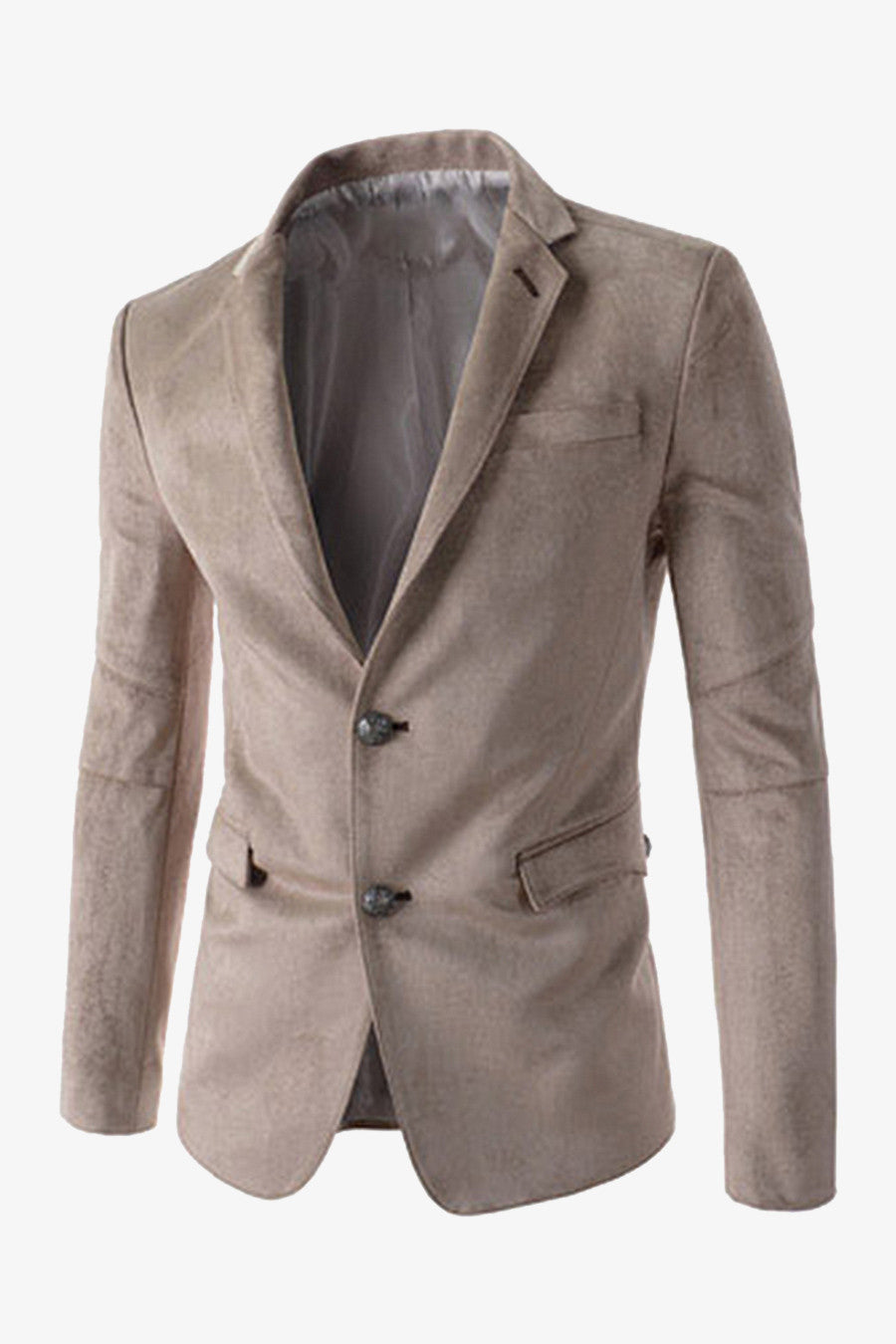 Suede 2-Button Suit Beige Jacket