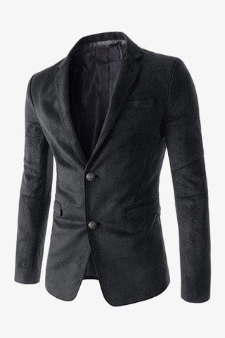 Suede 2-Button Suit Black Jacket