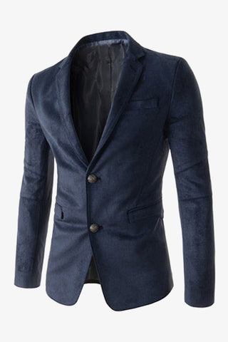 Suede 2-Button Suit Navy Jacket