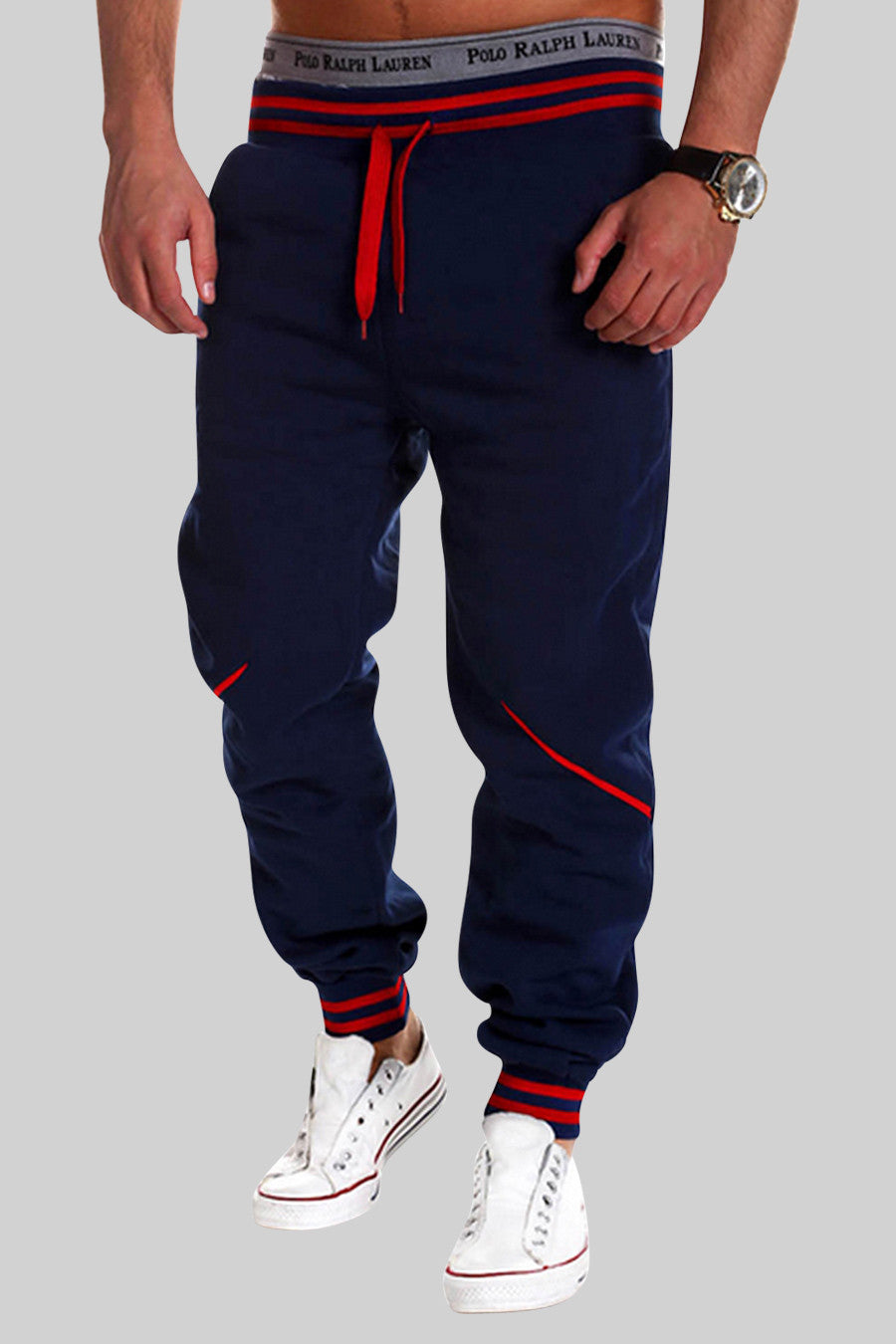 Elastic Waist Sweatpants In Navy