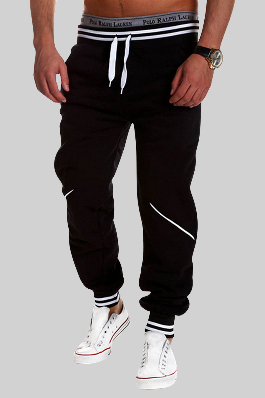 Elastic Waist Sweatpants In Black