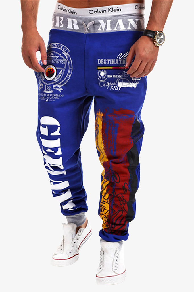 Printing Letters Sweatpants In Blue