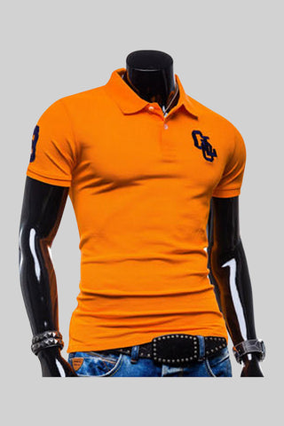 Slimming Stylish Polo T-Shirt In Orange