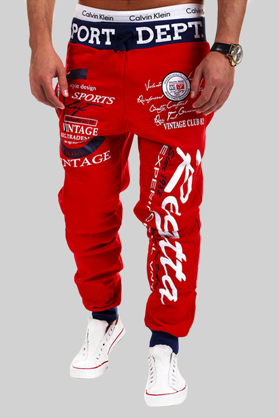 Printing Letters Sweatpants In Red