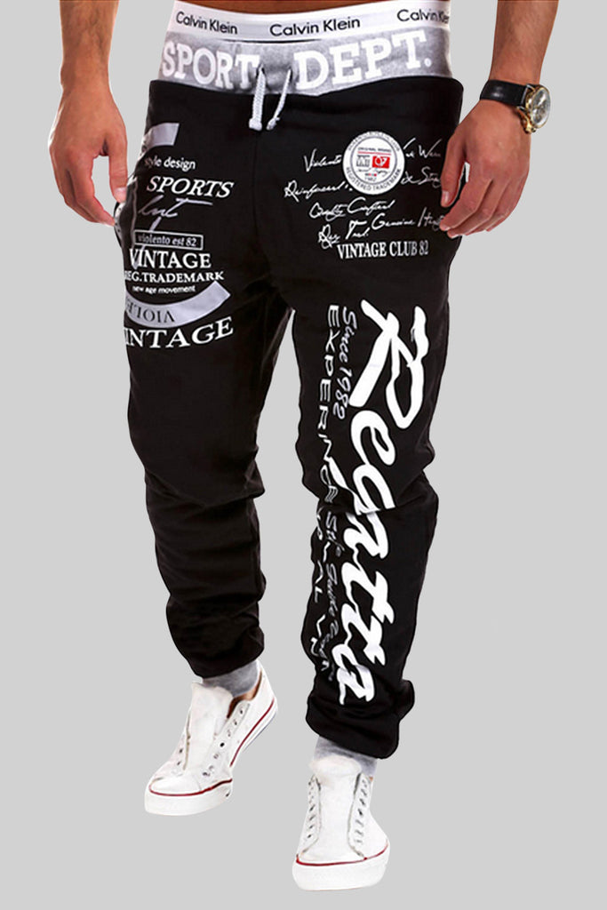 White Printing Letters Sweatpants In Black
