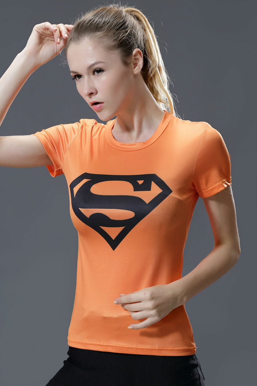Orange Superman Compression Tee