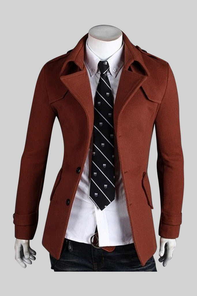 Wool Coat In Brown