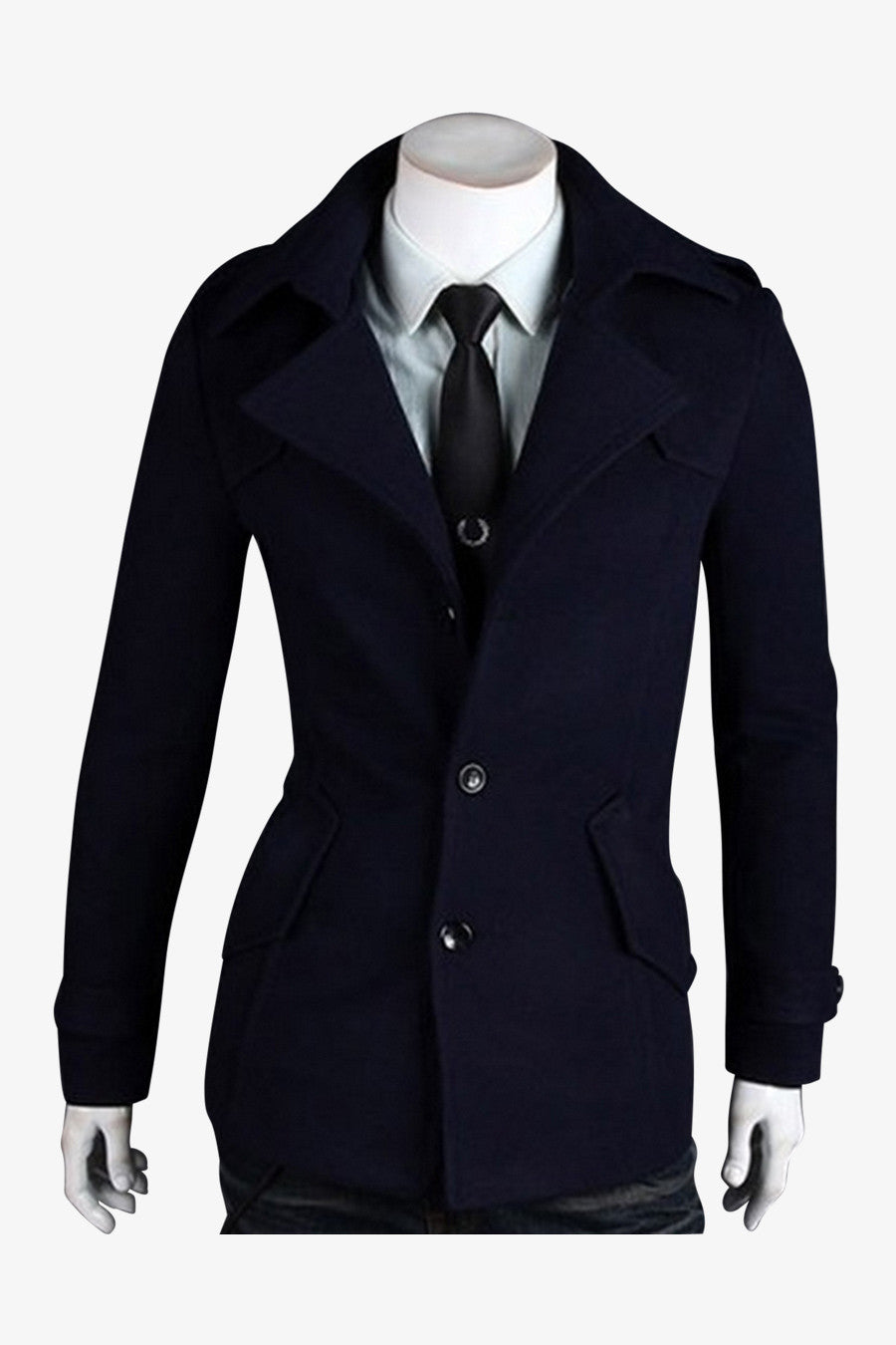Wool Coat In Navy
