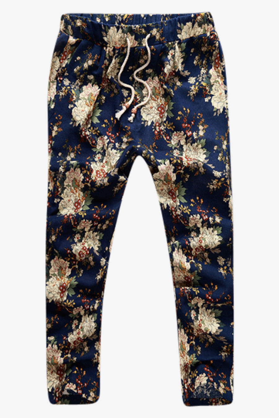 Floral Print Tie Front Pants In Navy