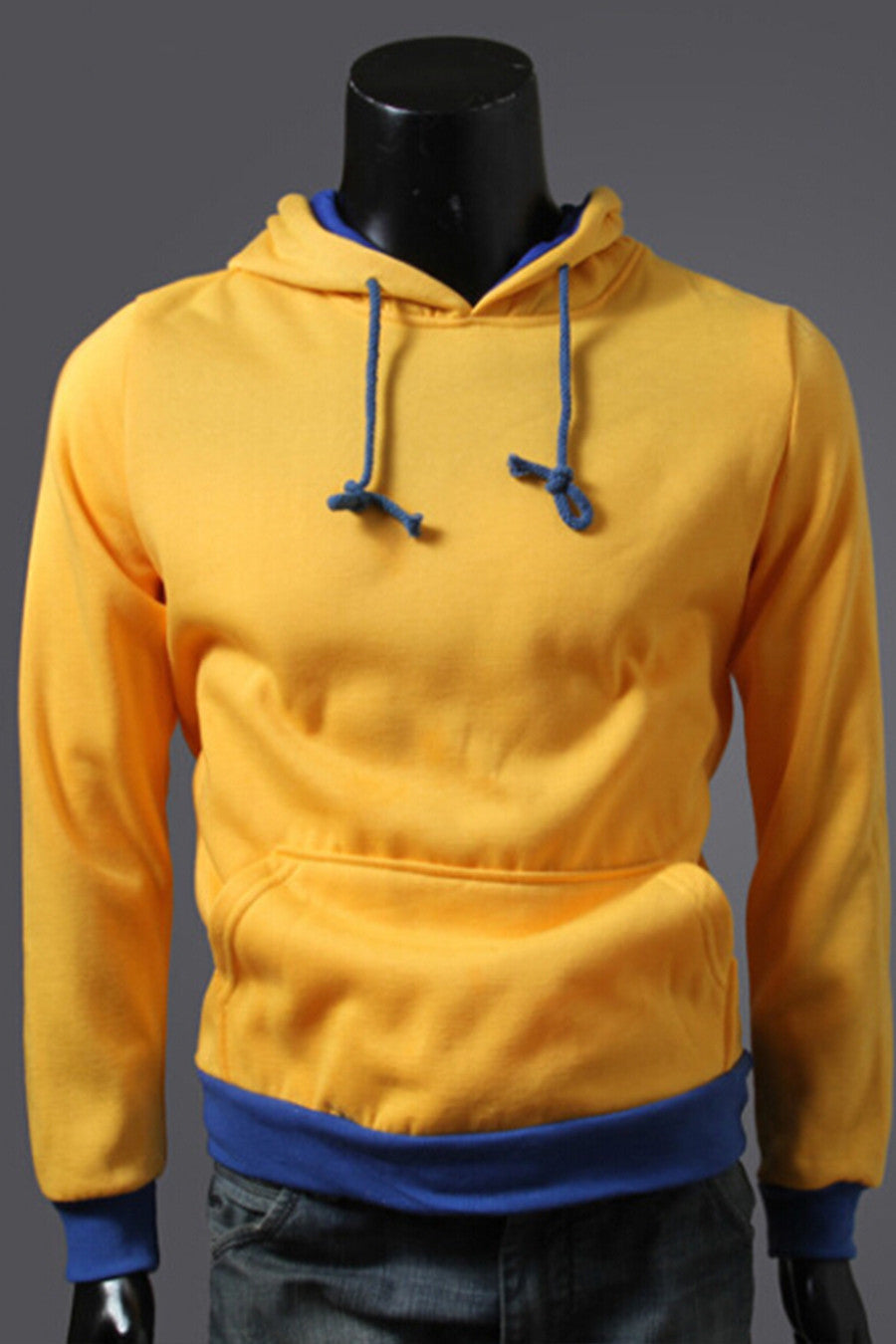 Yellow And Blue Spliced Hoodie