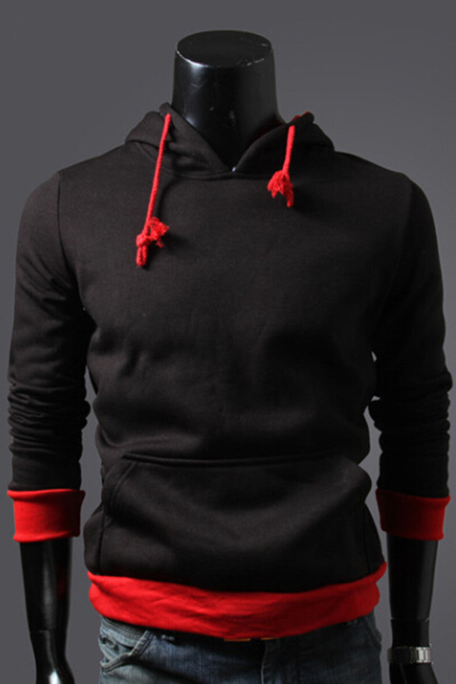 Black And Red Spliced Hoodie