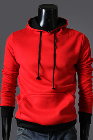 Red And Black Spliced Hoodie