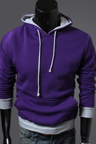 Purple And Gray Spliced Hoodie