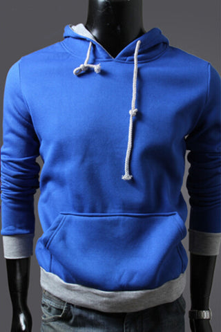 Blue And Grey Spliced Hoodie
