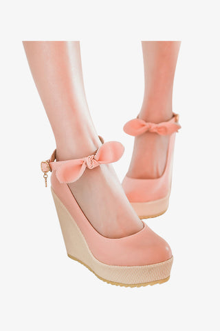Sweet Pink Bow Wedges