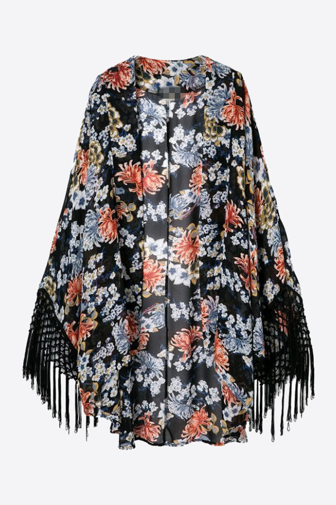 Retro Black Floral Printed Long Sleeve Kimono