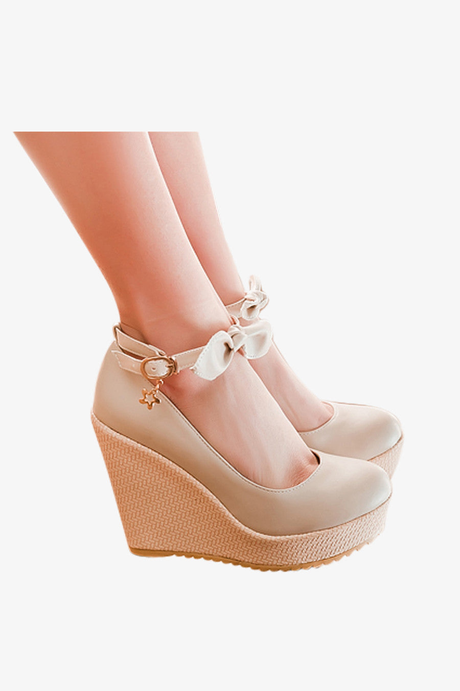 Sweet Bow Wedges In Beige