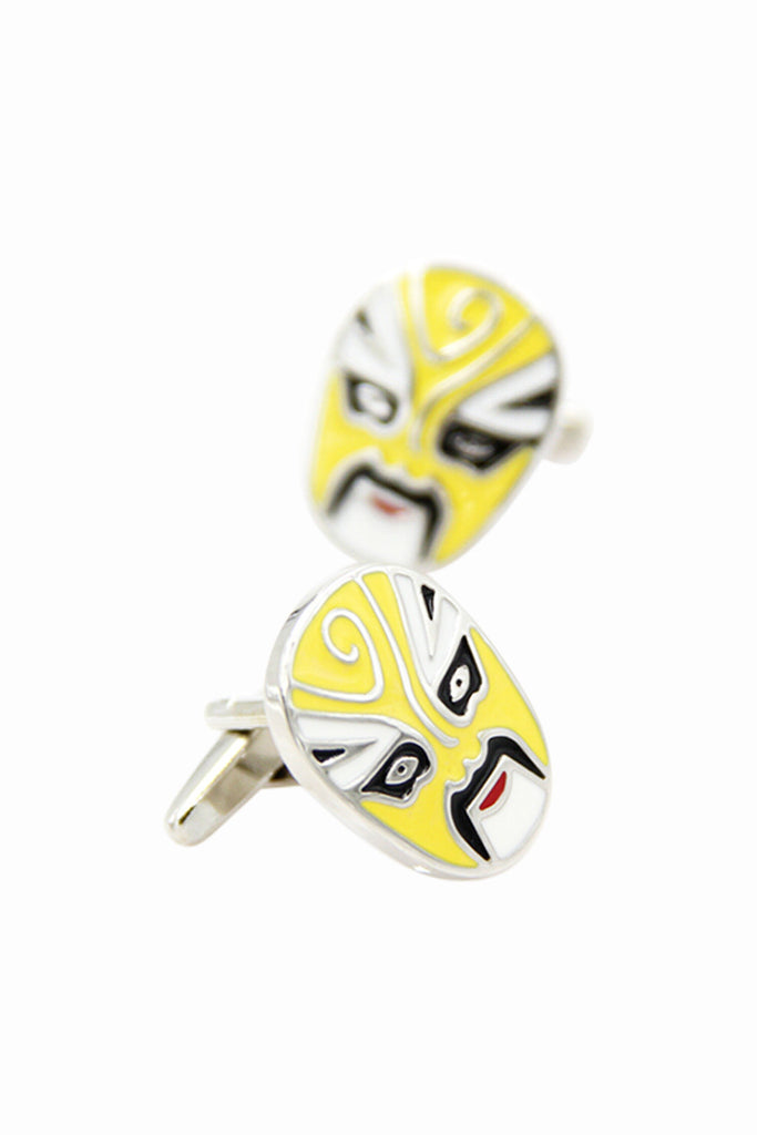 Beijing Opera Facial Makeup Cufflinks In Yellow