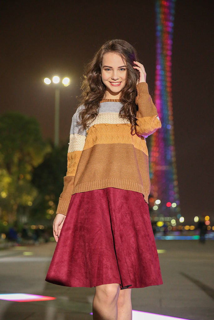 Cute Multi Striped Cotton Sweater In Brown