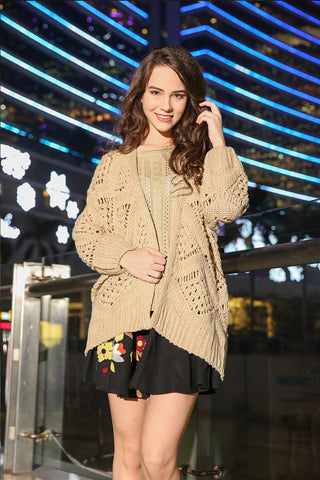 Beige Fashion Hollow Knit Loose Cardigan