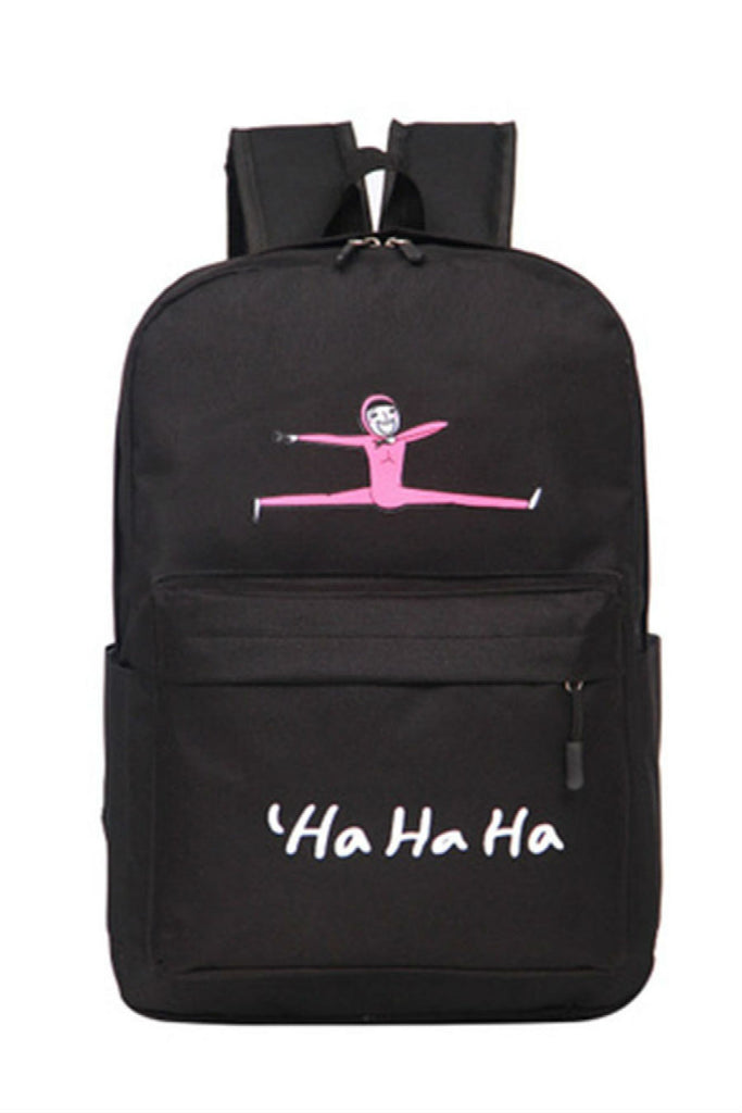 Cute Black Jumping Man Canvas Backpack