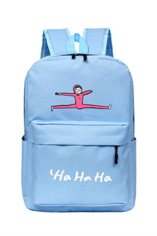 Pastel Blue Cartoon Backpack