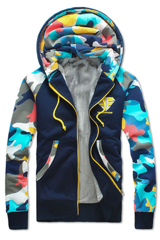Camo Printed Hoodie Jacket In Navy