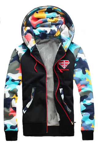 Camo Printed Hoodie Jacket In Black