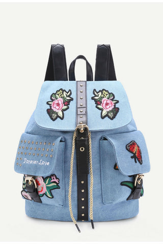 Blue Applique Studded Denim Backpack